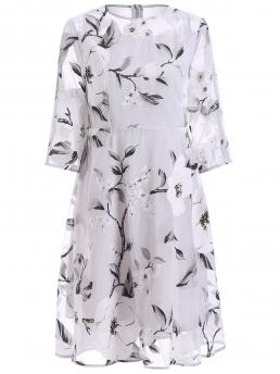 Cheap White Floral Round Collar Polyester See-through Dress
