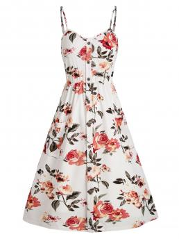 Trending now White Floral Spaghetti Strap Sleeveless Shirred Back Mock Buttons