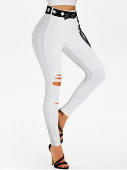 Women's White Solid Skinny Normal Lace-up Ripped Belted Pants
