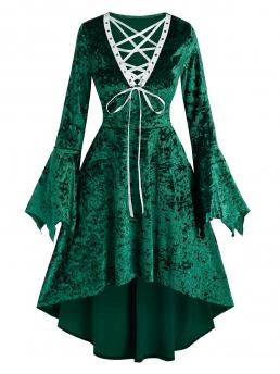 Deep Green Colorblock V-neck Long Sleeves Lace-up Bell Sleeve High Waist Dress on Sale