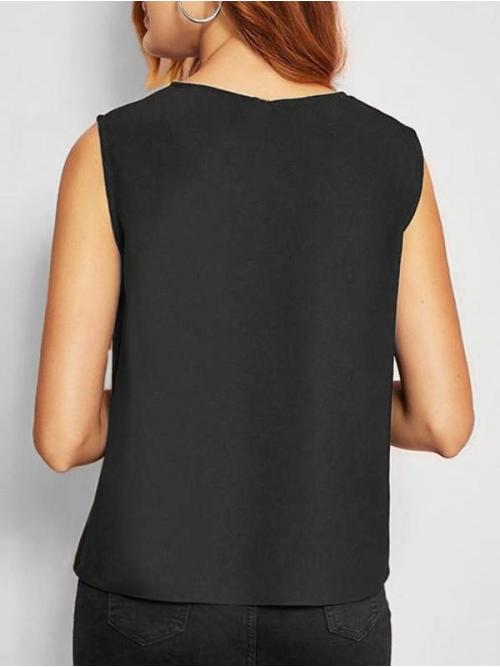 Polyester,polyurethane Others Black Casual Bowknot Scalloped Contrast Tank Top Cheap