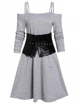 Light Gray Solid Spaghetti Strap Long Sleeves Open Shoulder a Line Dress and Corset Belt Clearance