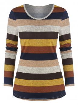 Full Sleeve Polyester Striped Multi-a Colorful Long Sleeve T-shirt Ladies