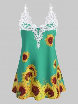 Affordable Polyester Sunflowers Light Green Fashion Crochet Panel Sunflower Cami Top
