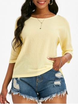 Three Quarter Sleeve Cotton,polyester Solid Yellow Plain Dolman Sleeve Blouse Discount