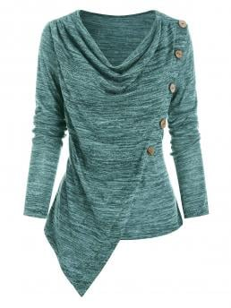 Discount Full Sleeve Polyester,rayon Solid Color Grayish Turquoise Buttons Space Dye Asymmetric Top