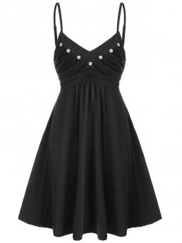 Black Solid Spaghetti Strap Sleeveless Buttons Ruched Fit and Flare Dress Pretty