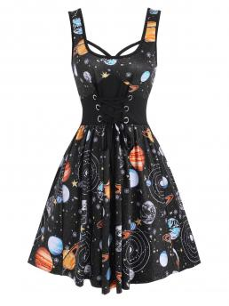 Black Galaxy U Neck Sleeveless Planet Print Lace-up Casual Clearance