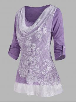 Three Quarter Sleeve Polyurethane,rayon Colorblock Purple Lace Insert Cowl Front Roll up Sleeve t Shirt Clearance
