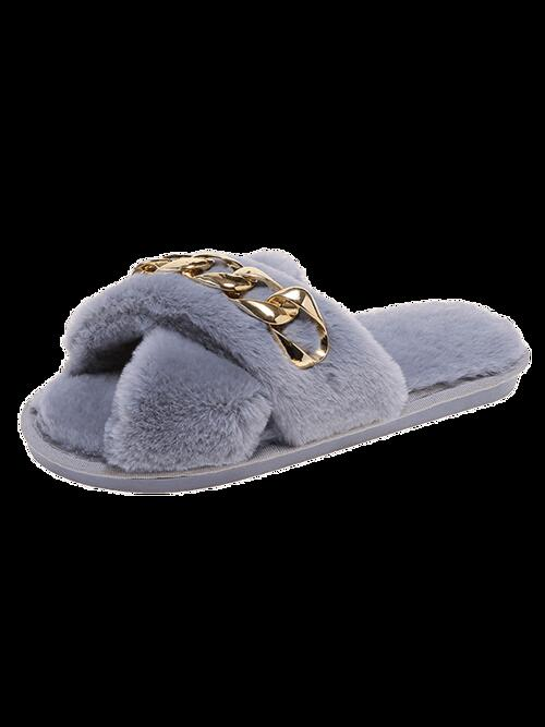 Sale Gray Faux Fur Solid Rubber Criss-cross Chain Furry Slippers