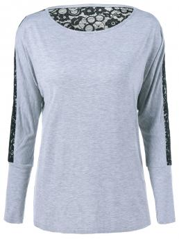 Full Sleeve Spandex Patchwork Grey See-through Lace Insert T-shirt Ladies