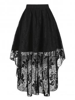 Black Solid Mid-calf Summer Pure Color Dip Hem Pull on Lace Skirt Pretty