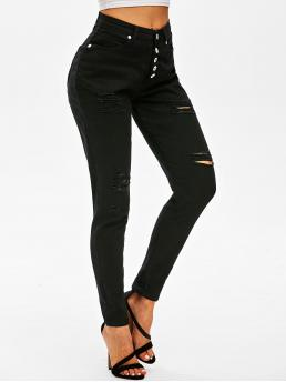 Fashion Black Skinny Normal Winter Distressed Waisted Jeans