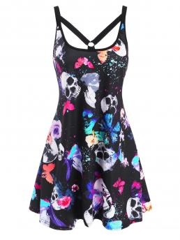 Affordable Multi Skull Scoop Neck Sleeveless O Ring Strappy