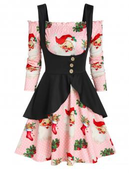 Beautiful Multi-a Santa Claus off the Shoulder Long Sleeves Christmas Dress and Peplum Vest