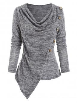 Full Sleeve Polyester,rayon Solid Color Light Gray Buttons Space Dye Asymmetric Top Discount