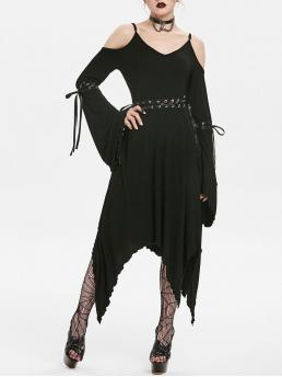 Black Solid Spaghetti Strap Flare Sleeve Gothic Bell Sleeve Dress Shopping