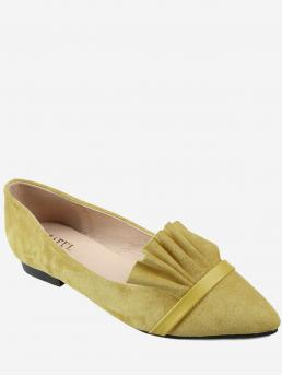 Yellow Suede Solid Elegant Chic Slip on Flats on Sale