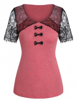 Affordable Short Sleeve Polyester,rayon Others Cherry Red Lace Panel Bowknot Embellished T-shirt