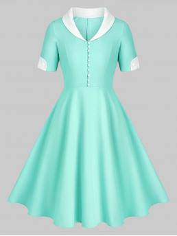 Light Blue Others Shawl Short Sleeves Collar Placket Fit and Flare Dress Pretty