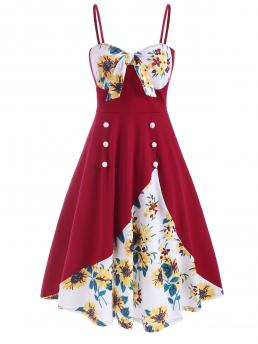 Red Wine Sunflower Spaghetti Strap Sleeveless Mock Buttons Knotted Cami Dress Trending now