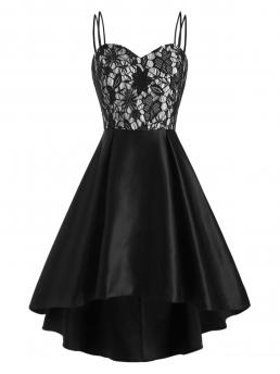 Affordable Black Solid Spaghetti Strap Sleeveless Flower Empire Waist Party Dress