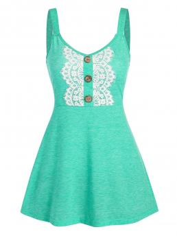 Womens Polyester,rayon Solid Aquamarine Casual Buttons Lace Applique High Waist Tank Top