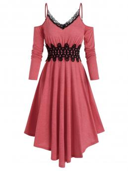 Cheap Valentine Red Patchwork Spaghetti Strap Long Sleeves Open Shoulder Lace Insert Mid Calf Dress