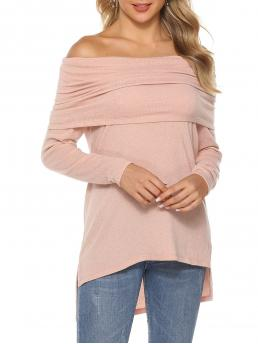 Full Sleeve Polyester,polyurethane Solid Rose High Low Top Cheap