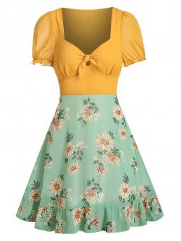 Trending now Green Floral Sweetheart Neck Short Sleeves Knot Front Chiffon Dress