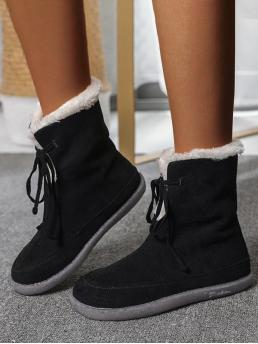 Ladies Black Suede Solid Color Rubber Outdoor Lace up Fluffy