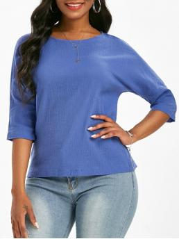 Three Quarter Sleeve Cotton,polyester Solid Light Blue Plain Dolman Sleeve Blouse Affordable