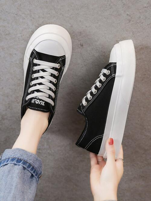 Black Canvas Solid Color Rubber Thick Sole Beautiful