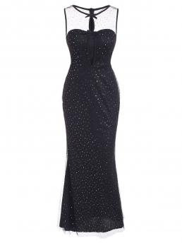Trending now Black Solid Round Collar Sleeveless Sequins Tulle Overlay Cutout Mermaid Evening Dress