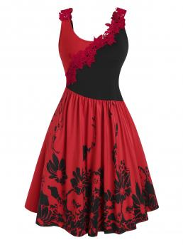 Clearance Red Floral Scoop Neck Sleeveless Two Tone Crochet Panel Dress