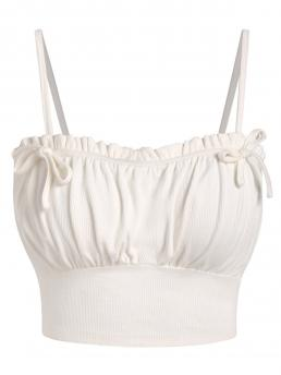 Polyurethane,rayon Solid White Fashion Bow Detail Ribbed Cropped Cami Top on Sale