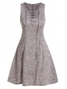 Sale Coffee Others V-neck Sleeveless Space Dye Fit and Flare Dress