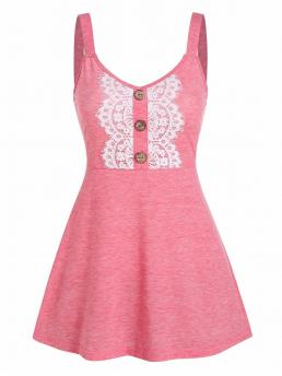 Polyester,rayon Solid Flamingo Pink Casual Buttons Lace Applique High Waist Tank Top Fashion