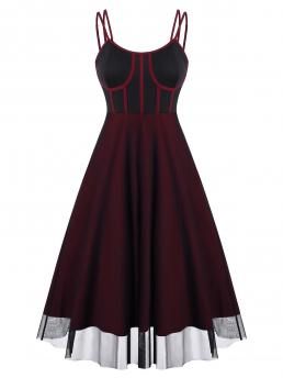 Beautiful Deep Red Others Spaghetti Strap Sleeveless Piping Mesh Overlay Bustier Dress