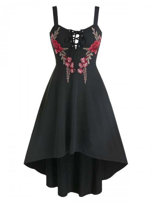 Black Floral Notched Sleeveless Flower Embroidered Lace-up High Low Flare Dress on Sale