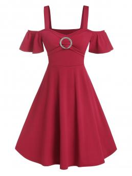 Cheap Red Wine Solid off the Shoulder Short Sleeves Rhinestone O-ring Cold Shoulder Flare Dress