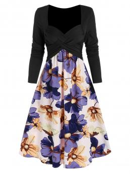 Fashion Multi-a Floral Sweetheart Neck Long Sleeves Criss Cross Ruched Flower Pattern Flare Dress