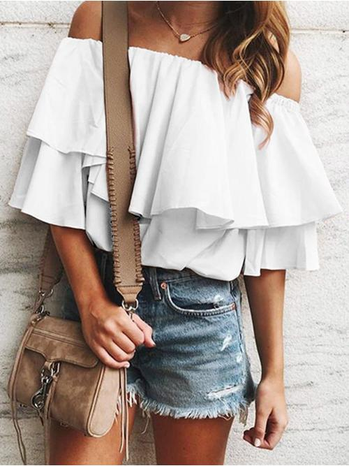 Clearance Half Sleeve Polyester,spandex Solid White off Shoulder Tunic Blouse