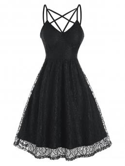Ladies Black Solid Spaghetti Strap Sleeveless Strappy Lace Party Dress