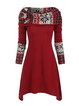 Red Wine Plaid off the Shoulder Long Sleeves Knitted Multiway Dress Clearance