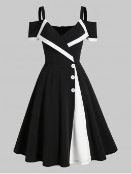 Black Colorblock Sweetheart Neck Cold Shoulder Two Tone Dress Beautiful