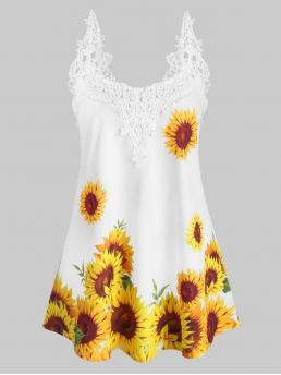 Polyester Sunflowers White Fashion Crochet Panel Sunflower Cami Top Sale