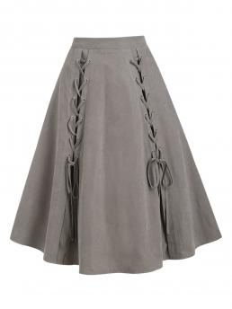 Womens Light Coffee Solid Mid-calf Spring Pure Color a Line Pull on Skirt