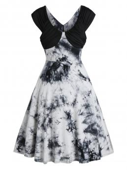 Multi-a Tie Dye Scoop Neck Short Sleeves Ruched a Line Dress on Sale