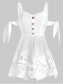 Shopping Polyester,polyurethane Solid Milk White Fashion Lace Insert Mock Button Tie Knot Tank Top